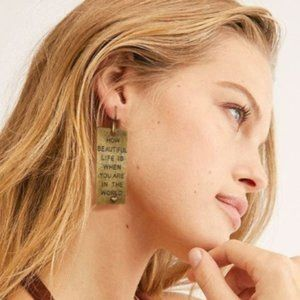 Free People Earrings Golden Graphic Heart New